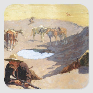 Fight for the Water Hole by Frederic Remington Square Sticker
