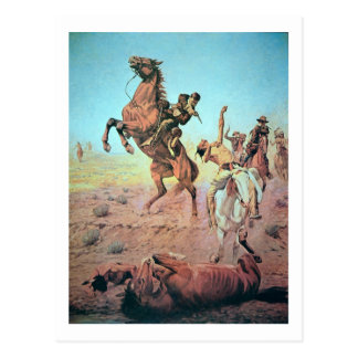 Fight for the Water Hole (colour litho) Postcard