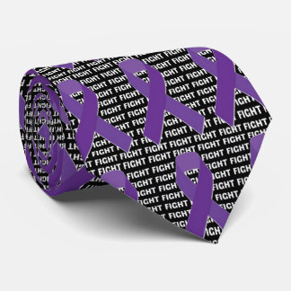 Fight Hodgkins Lymphoma Cancer Violet Ribbon Tie