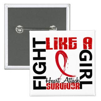 Fight Like A Girl 3.3 Heart Attack Survivor Pinback Button