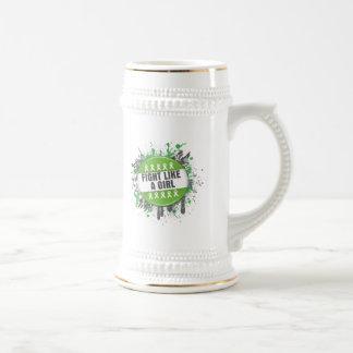 Fight Like a Girl Cool Button - Lymphoma Coffee Mug