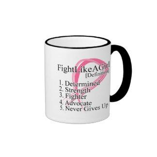 Fight Like a Girl Definition - Breast Cancer Ringer Mug