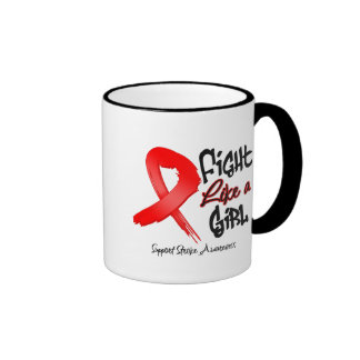 Fight Like a Girl - Distressed - Stroke Ringer Coffee Mug