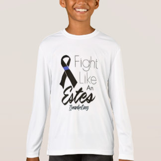 Fight Like An Estes Kids L/S Cancer Thin Blue Line T-Shirt