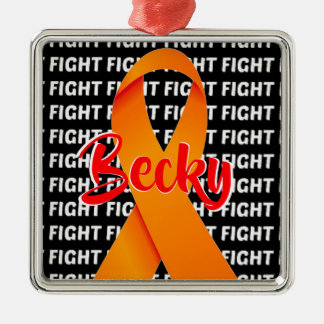 Fight Multiple Sclerosis Orange Ribbon Metal Ornament