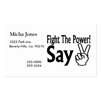 Fight The Power Say Peace Pack Of Standard Business Cards