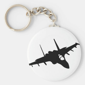 fighter aircraft basic round button key ring