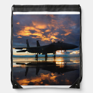 Fighter Jet Airplane at Sunset Military Gifts Drawstring Bag