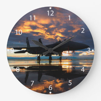 Fighter Jet Airplane at Sunset Military Gifts Large Clock