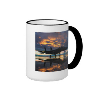 Fighter Jet Airplane at Sunset Military Gifts Ringer Coffee Mug