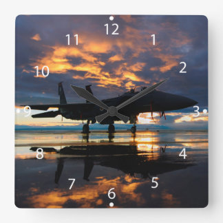 Fighter Jet Airplane at Sunset Military Gifts Square Wall Clock