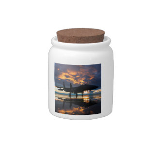 Fighter Jet Airplane at Sunset Military Gifts Candy Jars