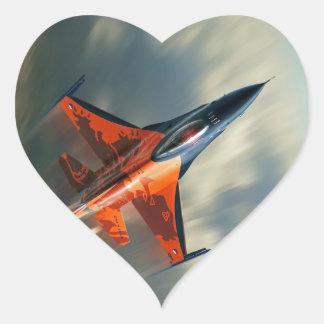 Fighter Jet Military airplane speed Heart Sticker
