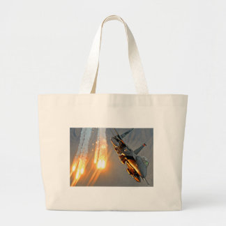 FIGHTER JET RELEASES HOT FLARES LARGE TOTE BAG