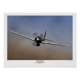 Fighter plane on Mitsubishi zero type warship Poster