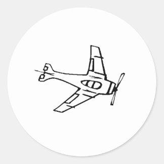 Fighter Plane Round Stickers