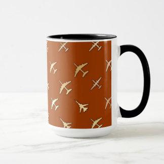 Fighter planes, on dark bronze mug