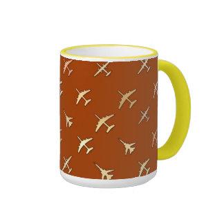 Fighter planes, on dark bronze ringer mug