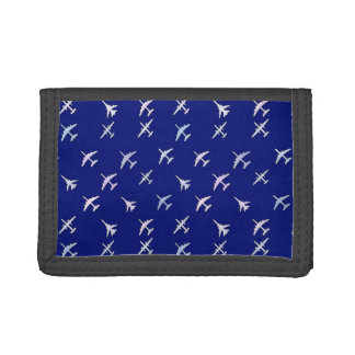 Fighter planes, on navy blue trifold wallets