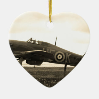Fighter Scrambled For Take Off Ceramic Heart Decoration