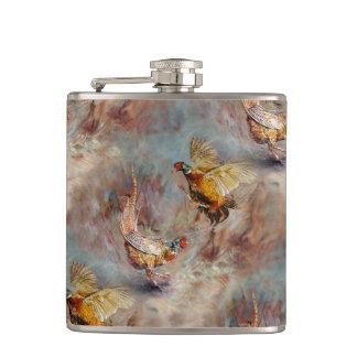 fighting pheasants art hip flask