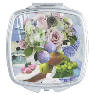 Figs, Floral and Pears Compact Mirror
