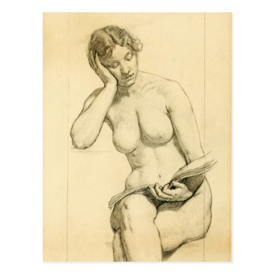 Figure drawing - woman reading postcard