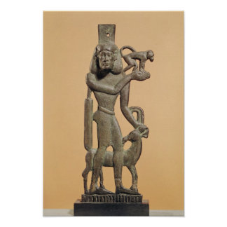 Figure of a man holding a monkey poster