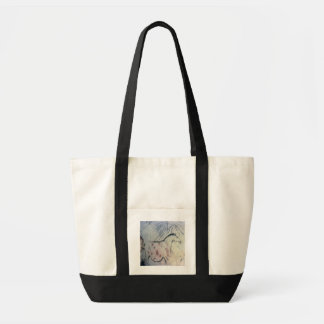 Figure of a pregnant mare with parallel line marki tote bags