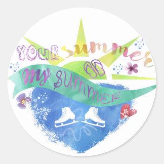 Figure Skate Design Classic Round Sticker