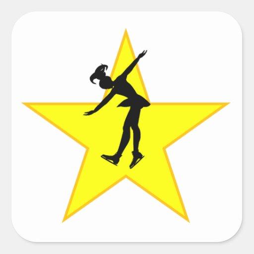 Figure Skate Silhouette Star Square Sticker