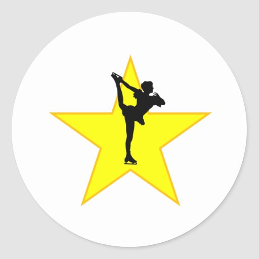 Figure Skate Silhouette Star Sticker