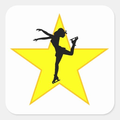 Figure Skate Silhouette Star Square Stickers
