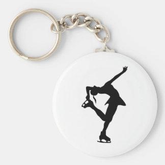 Figure Skater - Black & White Basic Round Button Key Ring