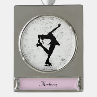 Figure Skater Ornament - Personalised- Silver Silver Plated Banner Ornament