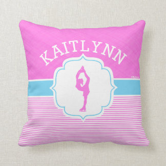 Figure Skater Pink Stripes with Baby Blue Cushion