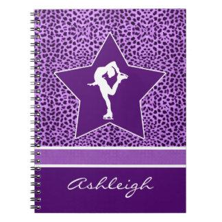 Figure Skater w/ Purple Cheetah Print and Monogram Notebook