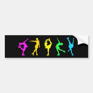 Figure Skaters Neon Pastel Rainbow Bumper Sticker