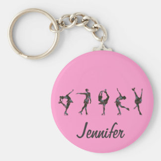 Figure Skaters, Pink, Gray Personalize Key Ring