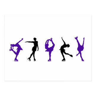 Figure Skaters - Purple & Black Postcard