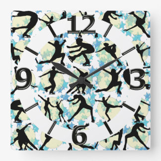 FIGURE SKATERS SQUARE WALL CLOCK