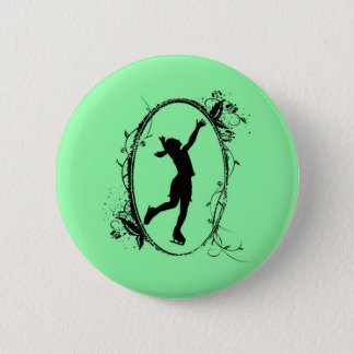 Figure Skating Button - Green Girl