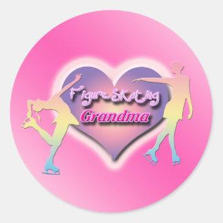 Figure Skating Grandma - Pastels Round Sticker