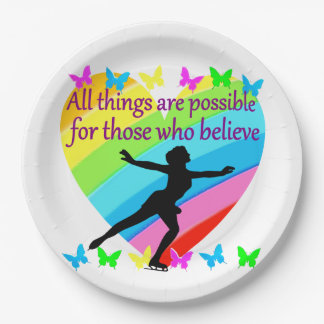FIGURE SKATING INSPIRATIONAL QUOTE DESIGN 9 INCH PAPER PLATE