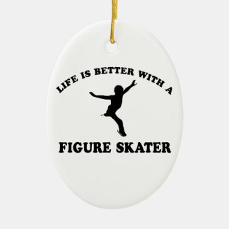 Figure Skating Vector Designs Ceramic Ornament