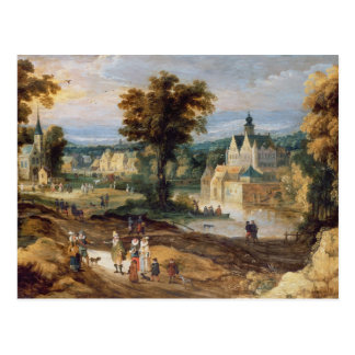 Figures in a landscape with village and castle bey postcard