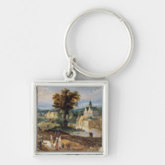 Figures in a landscape with village and castle bey Silver-Colored square key ring