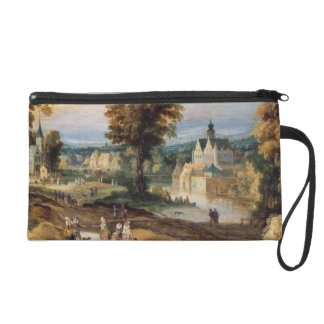 Figures in a landscape with village and castle bey wristlet clutches