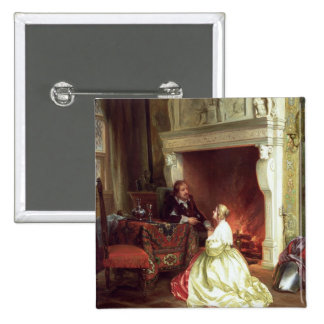 Figures in an Interior (oil on panel) 15 Cm Square Badge