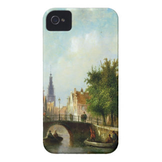 Figures on a Canal, Amsterdam (oil on panel) iPhone 4 Case-Mate Case